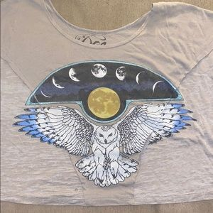 Moon owl wings graphic shirt Gypsy boho lover